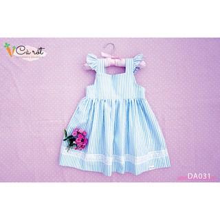Đầm 2 dây bèo vai, đầm bé gái thiết kế size 2-8T, váy xòe sọc vải cotton thoáng mát - Cà Rốt Dress