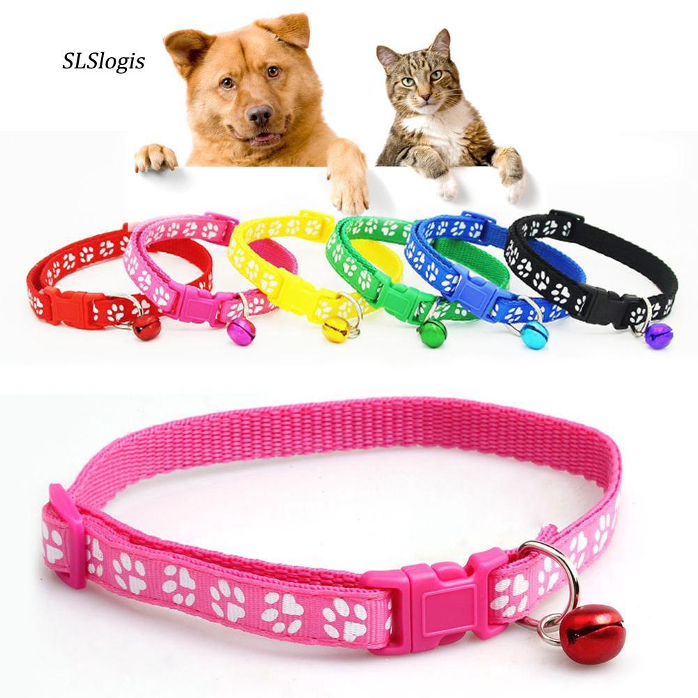SLSS_Fashion Dog Puppy Cat Kitten Buckle Cute Paw Print Bell Adjustable Pet Collar