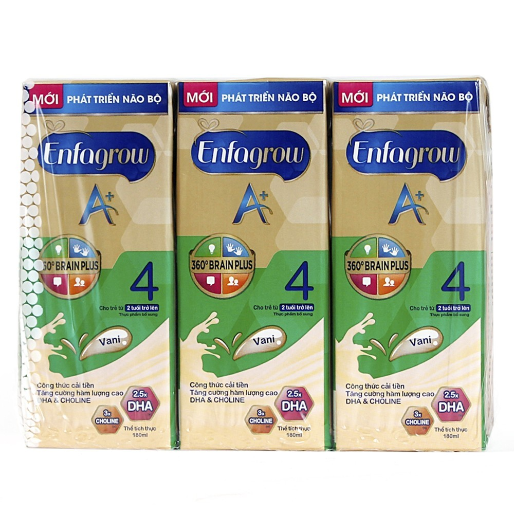 Lốc 3 hộp Sữa nước Enfagrow A+ 4 RTD Vani 180ml/hộp
