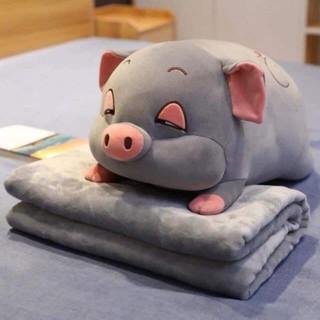 [Hot] Set gấu bông kết hợp chăn(mền) hình bé heo – chuột vải nhung mịn bông trắng – chất lượng VNXK