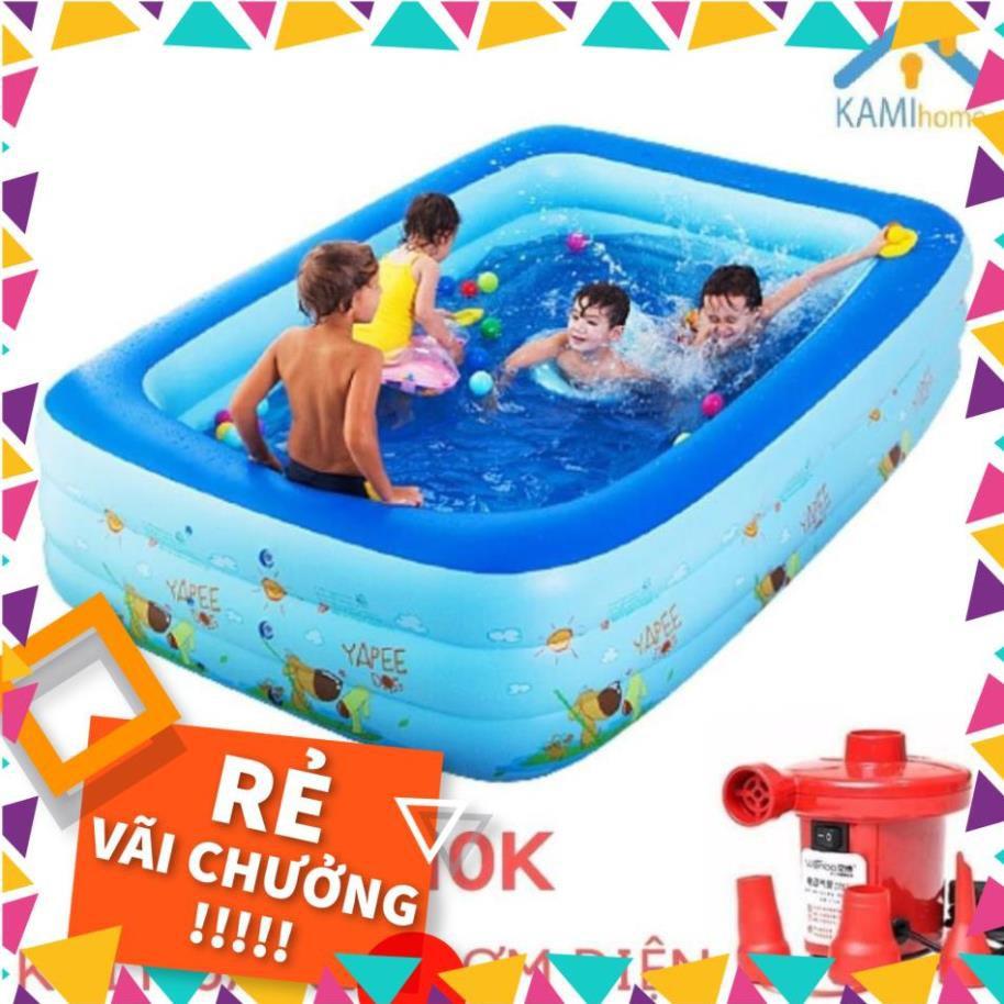 [SALE LỚN] Phao bơi Bể bơi cho bé – hồ bơi thành cao 3 tầng bơm hơi – BH 12 THÁNG