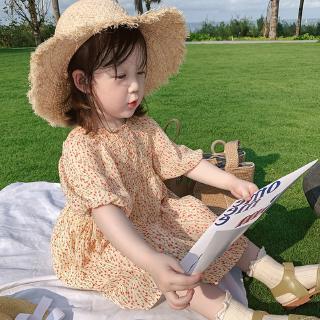 Đầm Bé Gái Tay Phồng In Hoa Xinh Xắn Đáng Yêu