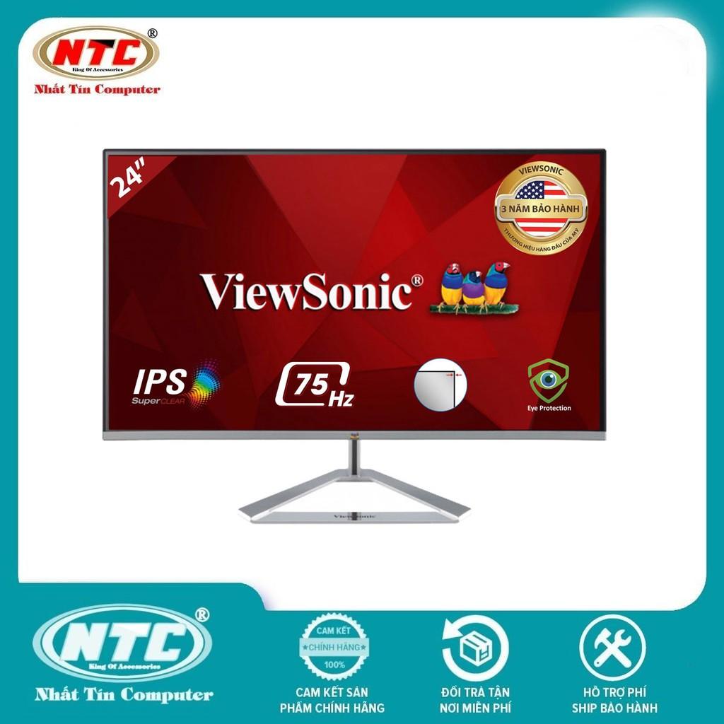 Màn hình máy tính ViewSonic VX2476-SH 23.8 inch IPS FHD 75Hz Frameless HDMI/VGA (Bạc)