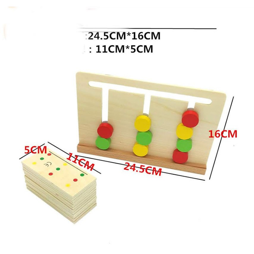 Giáo Cụ Montessori Bộ Tư Duy Logic 3 Màu Đồ Chơi Giáo Dục