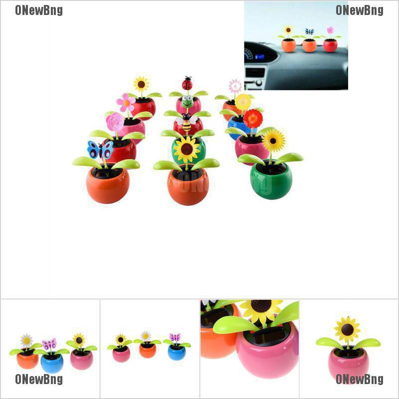 ONewBng✪ New Solar Powered Flip Flap Dancing Flower For Car Decor Dancing Flower Toy Gift