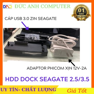 Dock Hdd SEAGATE Dùng Đọc Dữ Liệu  Ổ Cứng 2.5 inch - 3.5 inch- Chuẩn USB 3.0. Tặng Kèm Adaptor 12v 2A Xịn và Cáp Usb 3.0