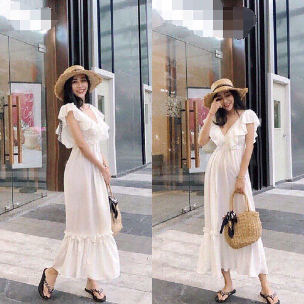 🌼 Đầm Maxi trắng bèo cánh tiên