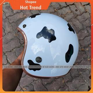 SOHOT - Nón mũ bảo hiểm phượt 3 4 trắng lót nâu bò sữa đốm đen đi chơi siêu cute - Nón 3 4 đi phượt hình bò sữa thumbnail