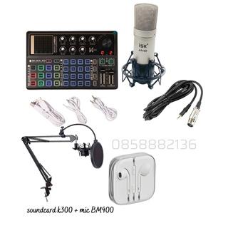 [tặng tai nghe] Bộ livestream K300 model 2021 Micro thu âm ISK AT100 đi kèm chân kẹp lọc thumbnail
