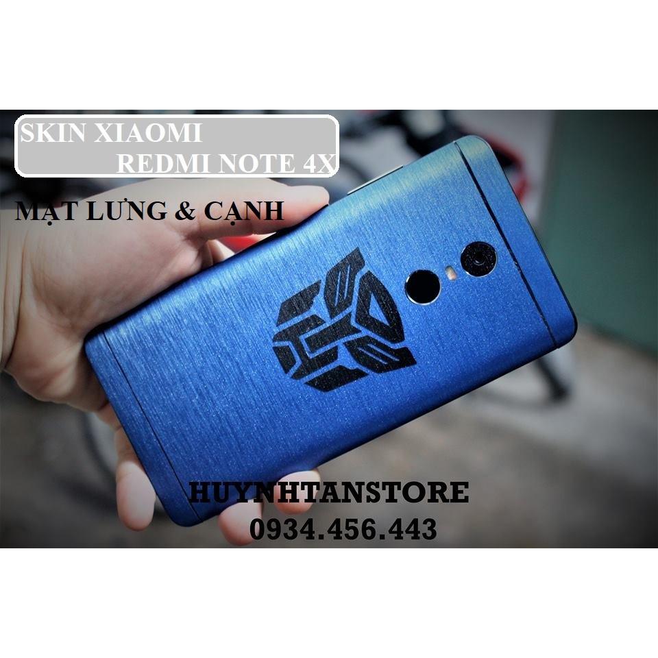 SKin Nhôm xướt Xiaomi Redmi Note 4x (Note 4 TGDĐ)_ Dán full mặt lưng và cạnh (không gồm logo)