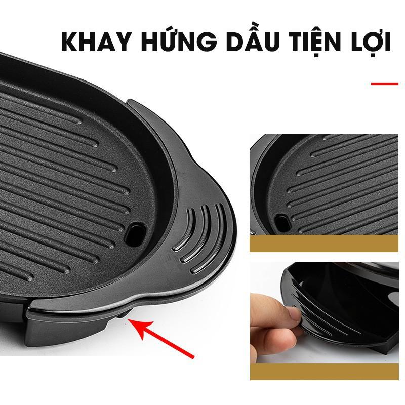 Bếp Lẩu Nướng Điện Đa Năng 2 Trong 1 - 2 Chế Độ Cùng Lúc Lẩu Nướng Kép Hình Chữ Nhật Không Khói