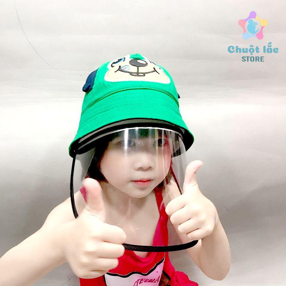 Mũ nón trẻ em có tấm chắn chống nước bọt bảo vệ bé trong mùa dịch có size cho bé từ 1 tuổi đến 15 tuổi (Nhiều màu)