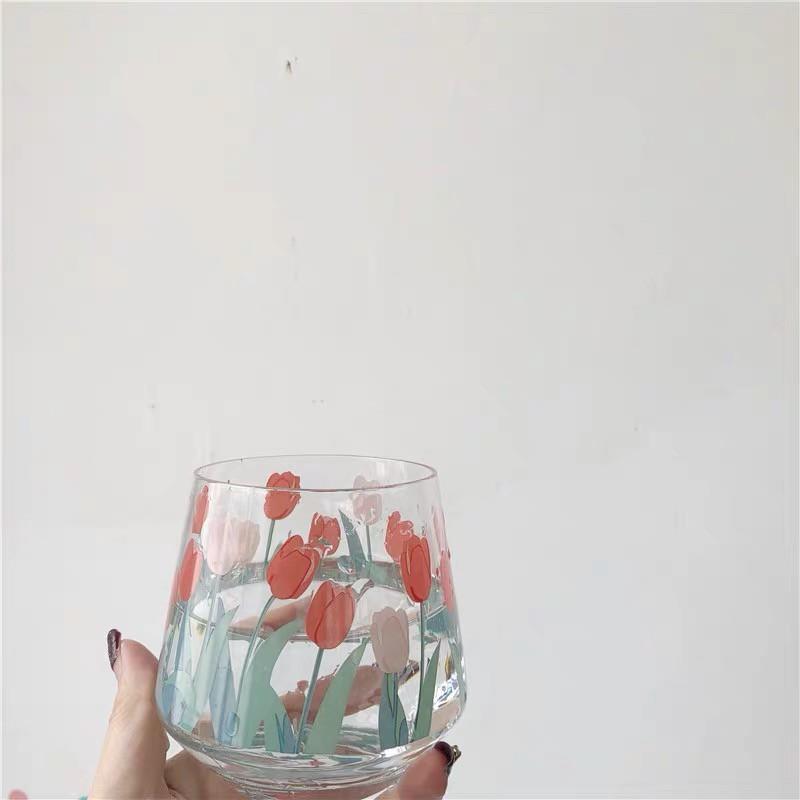 Cốc Uống Sữa / Cà Phê / Nước Ép Hình Hoa Tulip Kiểu Retro Dễ Thương