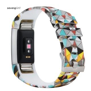 Dây đeo thay thế bằng silicon in hoa độc đáo cho Fitbit Charge 2