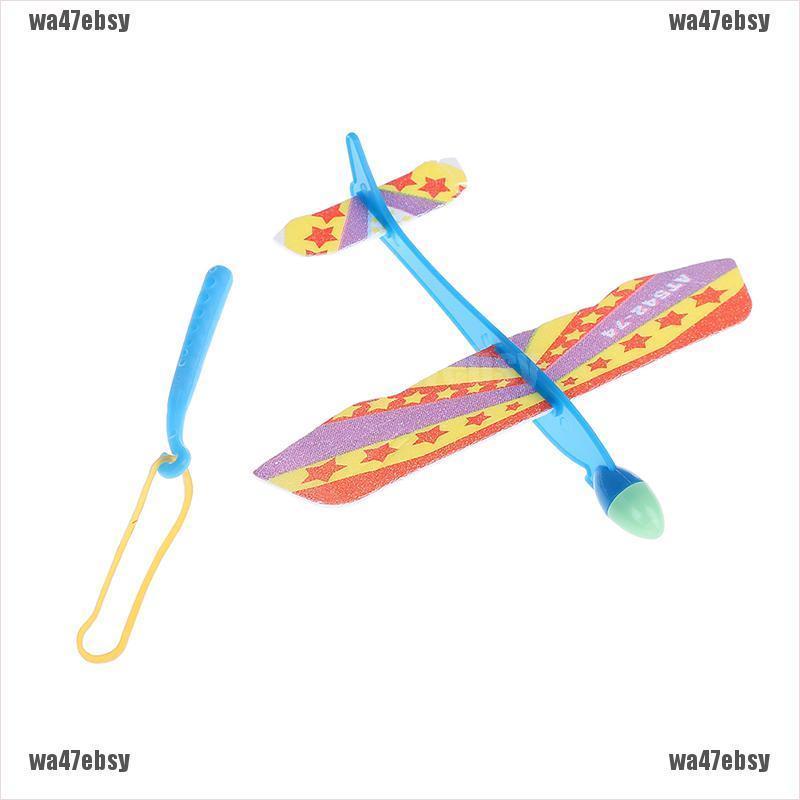 【wa47ebsy】Plastic foam elastic rubber powered flying plane kit aircraft toy