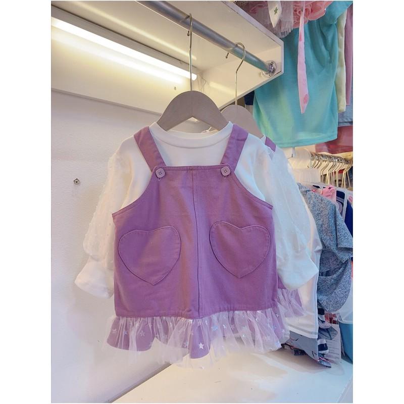 váy yếm tim tím cho bé gái