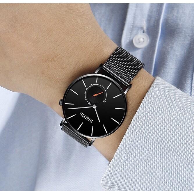 Đồng hồ nam DIZIZID dây thép lụa đen - thiết kế trẻ trung (chạy cả kim nhỏ) TẶNG HỘP + PIN DỰ PHÒNG CAO CẤP
