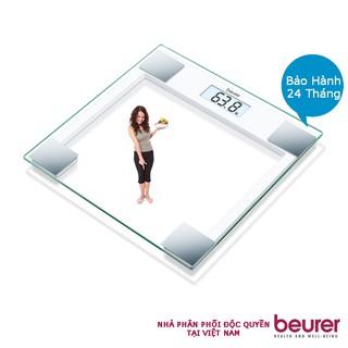 Cân điện tử mặt kính trong cường lực BEURER GS14 của Đức màn hình LCD, có thông báo quá tải, chịu lực tối đa 150 kg