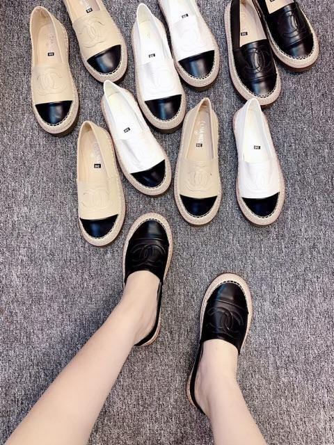 [Kho buôn giày dép] Giày nữ I Slip on đế cói da lì chữ X đế Doc cao su đặc cực xịn xò hot trend năm nay