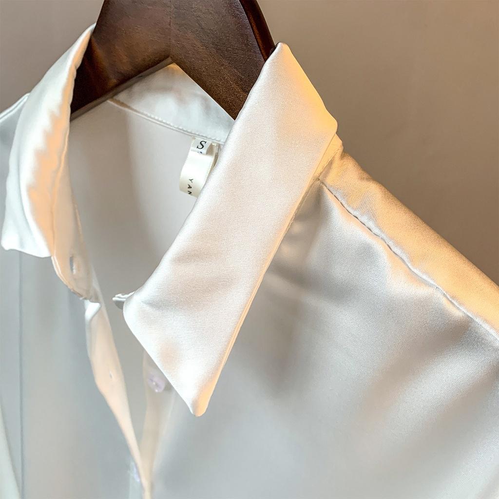 Mặc gì đẹp: Xinh tươi với Áo sơ mi nữ lụa trắng đẹp form rộng cổ vest cao cấp phong cách công sở, sang trọng Mely's Fashion MLSM_LUA_001
