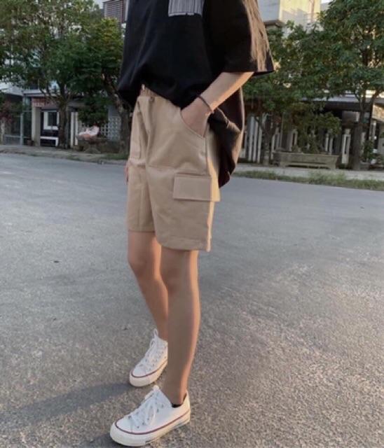 Quần short kaki unisex Wind Trơn túi hộp, quần lửng kaki túi hộp nam nữ Ulzzang Wind