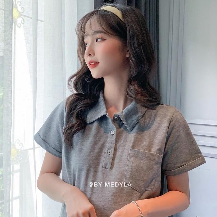 Mặc gì đẹp: Siêu xinh với MEDYLA - Đầm bầu công sở dự tiệc thiết kế xinh dáng polo cotton cho bầu đi chơi du lịch cực xinh - VS817