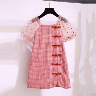 Đầm sườn xám kẻ caro tay áo lưới phồng phối họa tiết chấm bi phong cách Trung Hoa cho bé gái