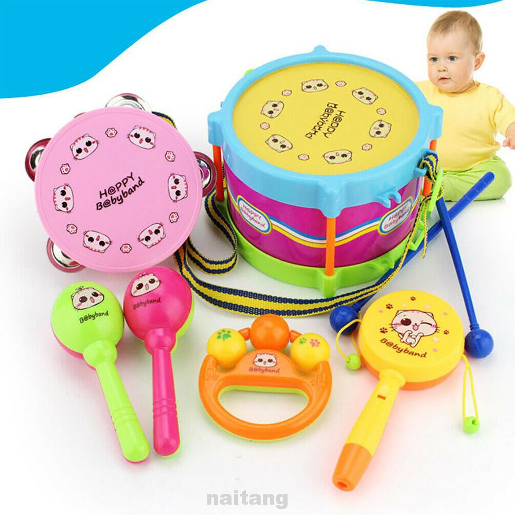 6pcs/set Musical Instruments Children Baby For Kids Educational Early Learning Toddlers Boy Girl Grasp Drum Toy Kit