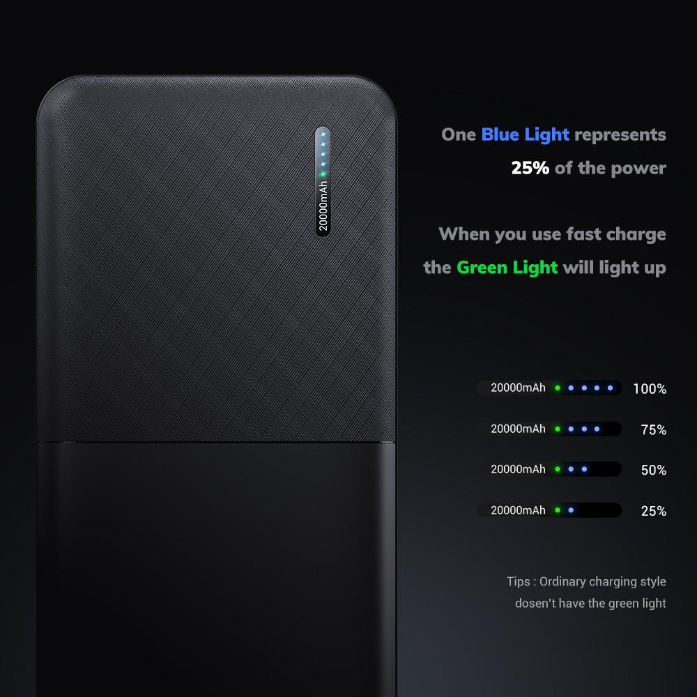 Pin Dự Phòng TOPK I2009Q 18W QC3.0 Sạc Nhanh 2 Cổng USB PD3.0 QC3.0 20000mAh Cho Xiaomi Samsung IPhone