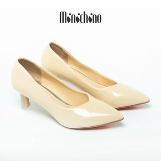 Giày búp bê nữ cao 5cm MINICHINO giày cao gót nữ da bóng mũi nhọn thời trang màu kem TC037 thumbnail
