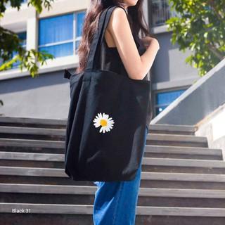 Túi tote, túi vải nữ thời trang phong cách Hàn quốc đựng vừa a4- HOA CÚC - màu đen