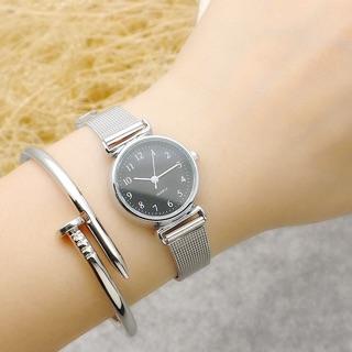 Đồng hồ nữ Quartz dây kim loại nhỏ xinh phong cách Hàn Quốc