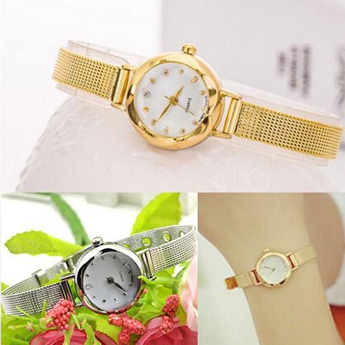 Đồng hồ đeo tay bằng hợp kim khảm đá sang trọng thanh lịch cho nữ