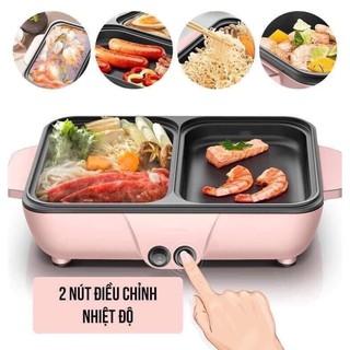 (Cao Cấp) Nồi Lẩu Kiêm Nướng 🥘 2in1 Mini Hàn Quốc🥘 Bếp Lẩu Nướng Đa Năng Cao Cấp Bảo Hành 12 Tháng