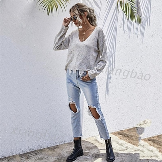 10MS Womens Long Sleeve Ripped Tassels Hem Sweater Sexy V-Neck Colorful Knit Crop Top