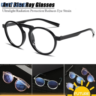 🎈FUTURE🎈 Improve Comfort Optical Spectacle Frames Radiation Protection Resin Lens Anti Blue Ray Glasses Round Frame Transparent Fashion Ultralight PC Frame Computer Gaming Eyewear
