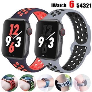 Dây Đeo Silicon Cho Đồng Hồ Thông Minh Apple Watch 44mm 40mm Iwatch Band 42mm 38mm Thoáng Khí 6 5 4 3 Se thumbnail
