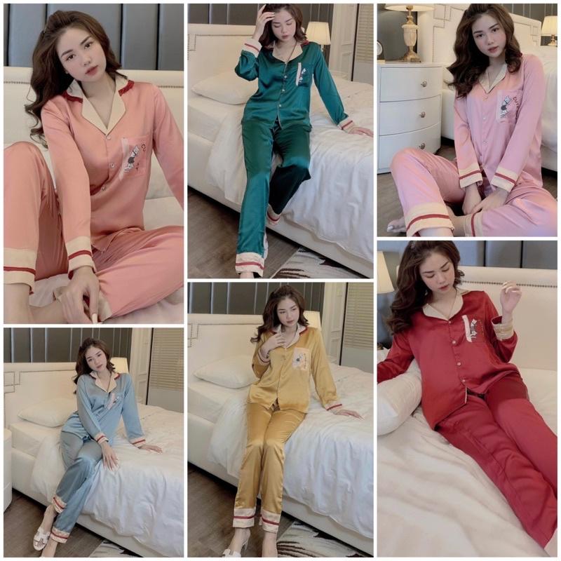 Mặc gì đẹp: Mát mẻ với Đồ Bộ Pijama - Bộ Lụa Satin Tay Dài Siêu Hot [cao cấp - hàng chuẩn đẹp]