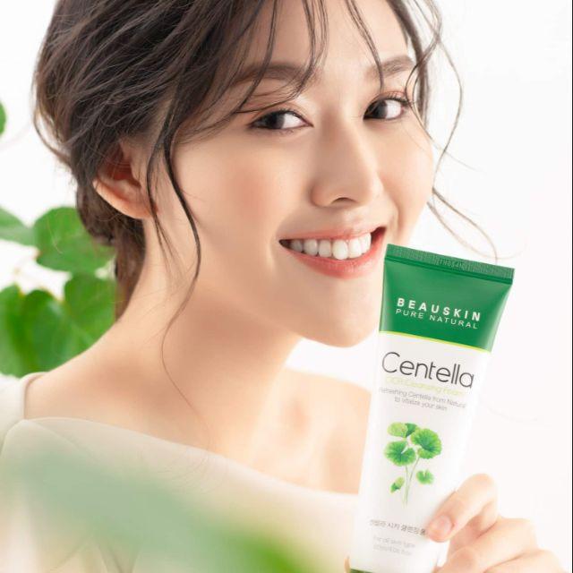 Sữa rửa mặt sạch nhờn trị mụn mờ thâm nám dưỡng da trắng mịn Beauskin Centella CICA Cleansing Foam, Hàn Quốc 120 ml