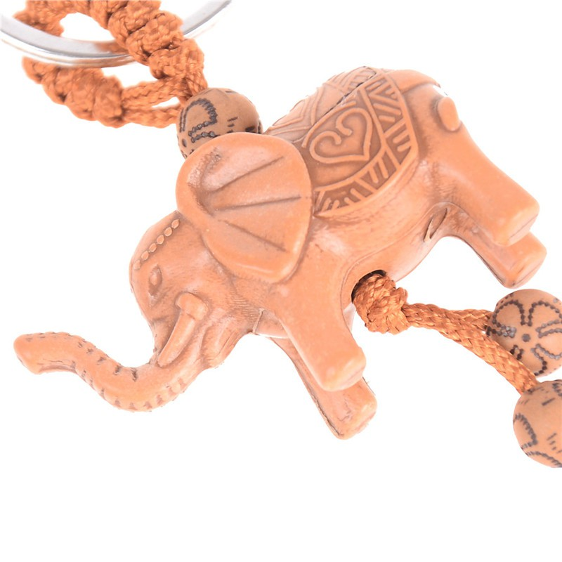Lucky Elephant Carving Wooden Pendant Keychain Key Ring Chain Decoration Gift