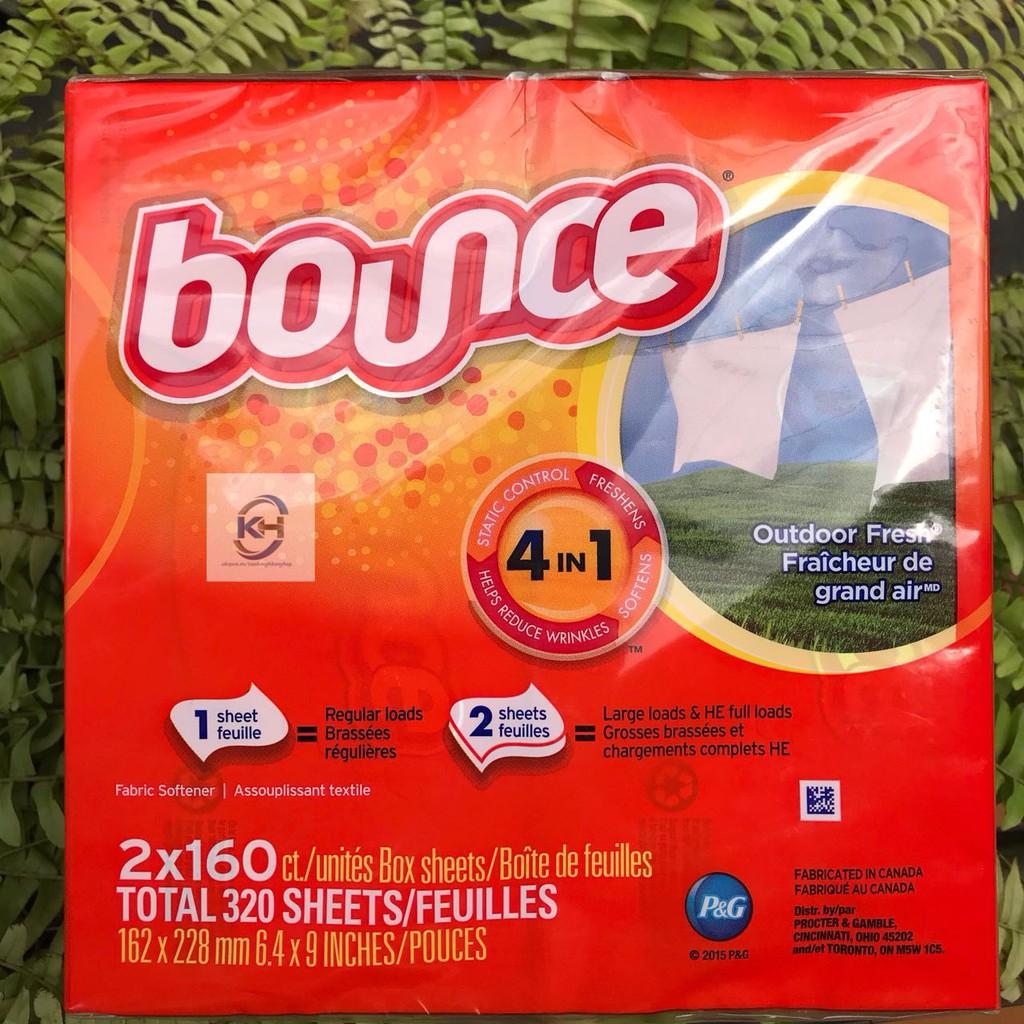 Giấy Thơm Quần Áo BOUNCE Outdoor Fresh 4in1 của Mỹ, 160 tờ x 2 hộp (Hàng chuẩn, Air)