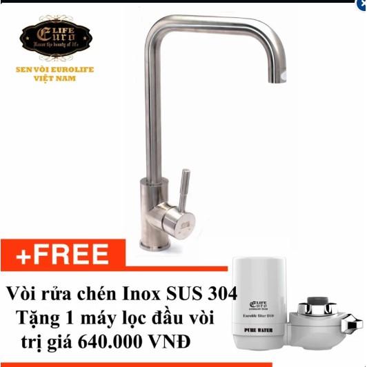 Vòi rửa chén Inox SUS 304 Eurolife EL-T001 (Trắng bạc) - Tặng Máy lọc trực tiếp đầu vòi Eurolife EL-