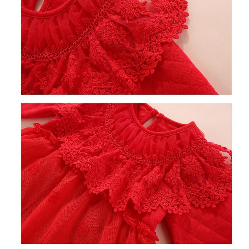 Set Váy Body Ren Tiểu Thư Trần Bông Đầy Tháng/Thôi Nôi Bé Gái 0-12m(kèm mũ bèo tiểu thư)