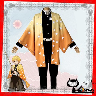 [Có sẵn] Haori cosplay Zenitsu – Áo khoác kèm băng chân – Costume Kimetsu no yaiba
