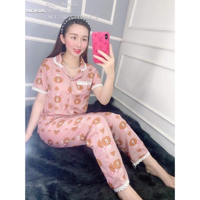 [Mã WA2710 giảm 10k đơn 99k] set đồ bộ pijama voan cat lụa fom 55kg trở xuống tay ngắn quần dàì