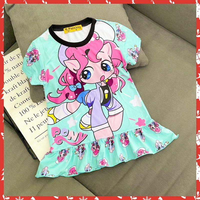 Váy hè bé gái, đầm thun lạnh in 3D hình siêu đẹp cho bé gái , đầm váy bé gái