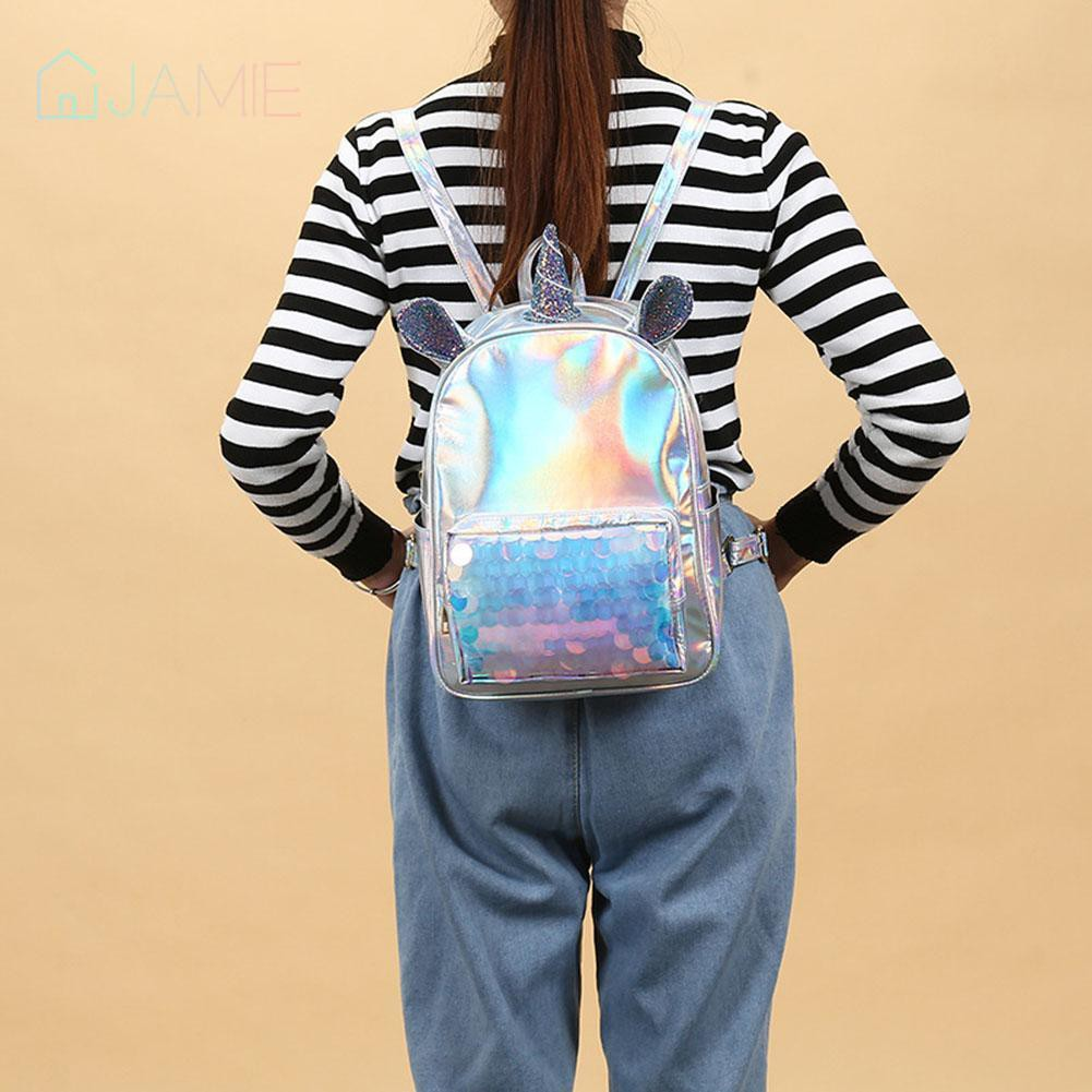 🌸Cute Sequins Ear Backpack Women Patent Leather Travel Shoulder