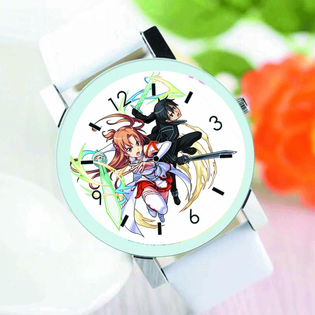 Đồng hồ đeo tay nam nữ in hình Sword Art Online Đao Kiếm Thần Vực anime chibi tiện lợi