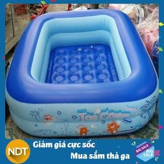 [Tặng keo vá bể] Bể bơi phao 2 tầng hình chữ nhật Size 120x95x35 cho bé – Hồ bơi cho trẻ loại dày 1,2m