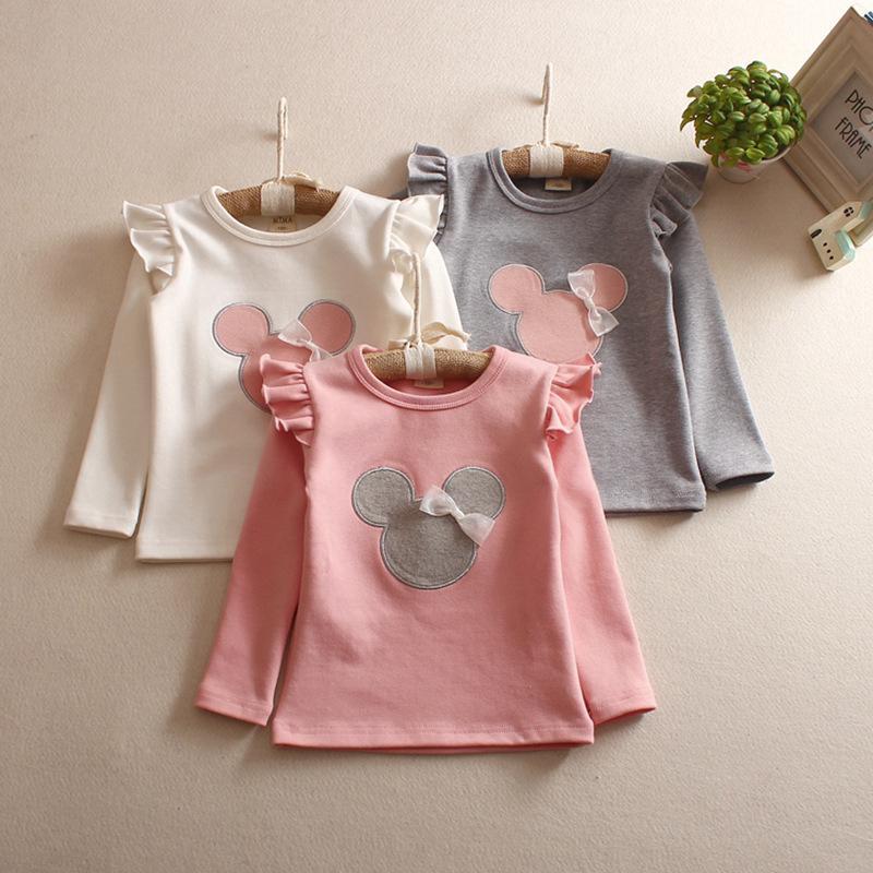 Áo thun tay dài vải cotton họa tiết hoạt hình dễ thương thời trang cho bé gái